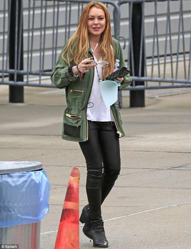 lindsay-lohan-military-army-jacket-spring-2013 Top 10 Celebrities Military Inspired Outfit Ideas