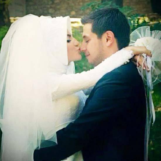 muslim couple kissing