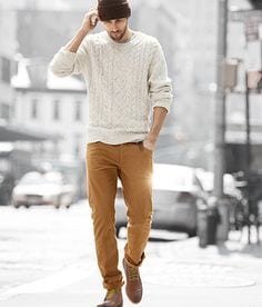 sweater-with-mustard-pants-1 15 Most Popular Casual Outfits Ideas for Men 2018