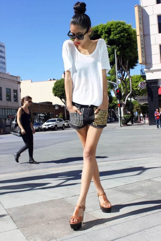 summer style with studded shorts