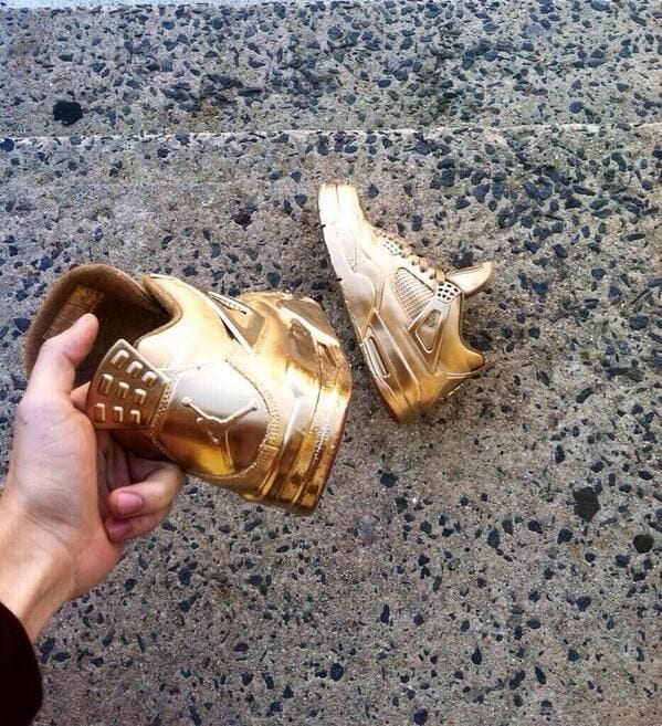 Golden jordans shoes