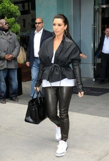 Kim-Kardashian-in-Jordan 30 Cute Outfits Ideas to Wear with Jordans for Girls Swag