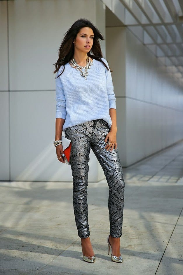 vivaluxury-party-pants-silver-sparklelook-main-single 15 Ideal Outfits To Wear With Statement Necklaces All Season