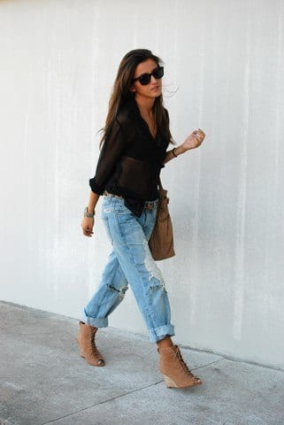 wedges 30 Stylish Shoes to Wear With Boyfriend Jeans For Chic Look
