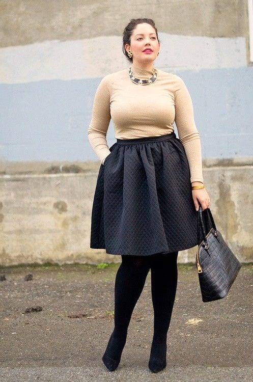20 Stunning Skirt Outfits Combinations for Plus Size Ladies