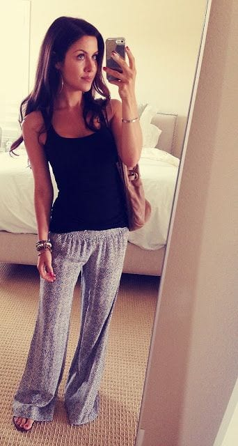 Sleeveless-top-with-pajamas 30 Cute Outfits to Wear with Pajamas/PJs to Look Gorgeous