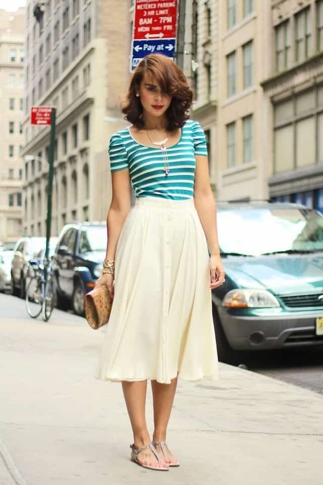 white-midi-skirt Tall Girls Fashion -35 Cute Outfits Ideas for Tall Ladies