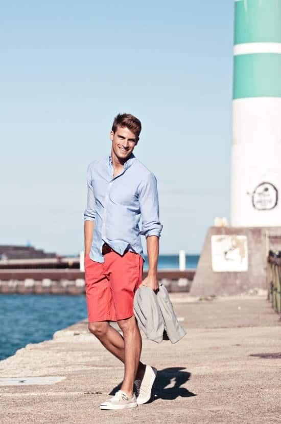 Mens Light Blue Shorts Outfit