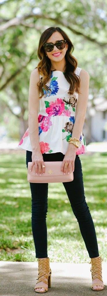 floral-peplum-tops Summer Peplum Outfits-17 ways to Wear Peplum Tops in Summers