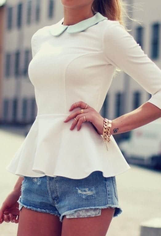 peplum top with denim shorts