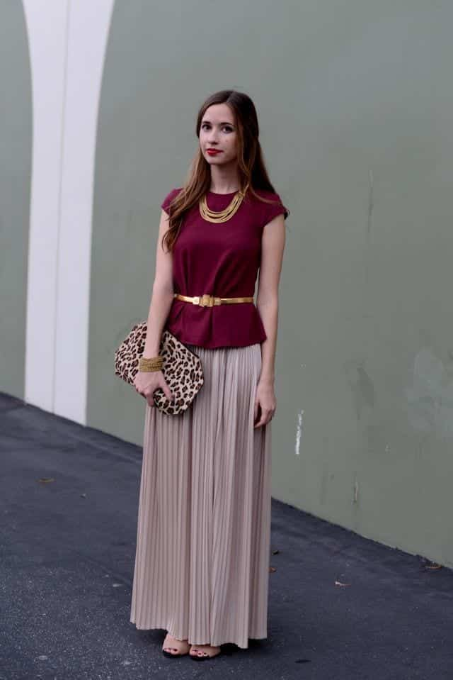 peplum top with maxi skirt