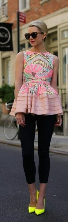 skinny cropped pants with peplum top