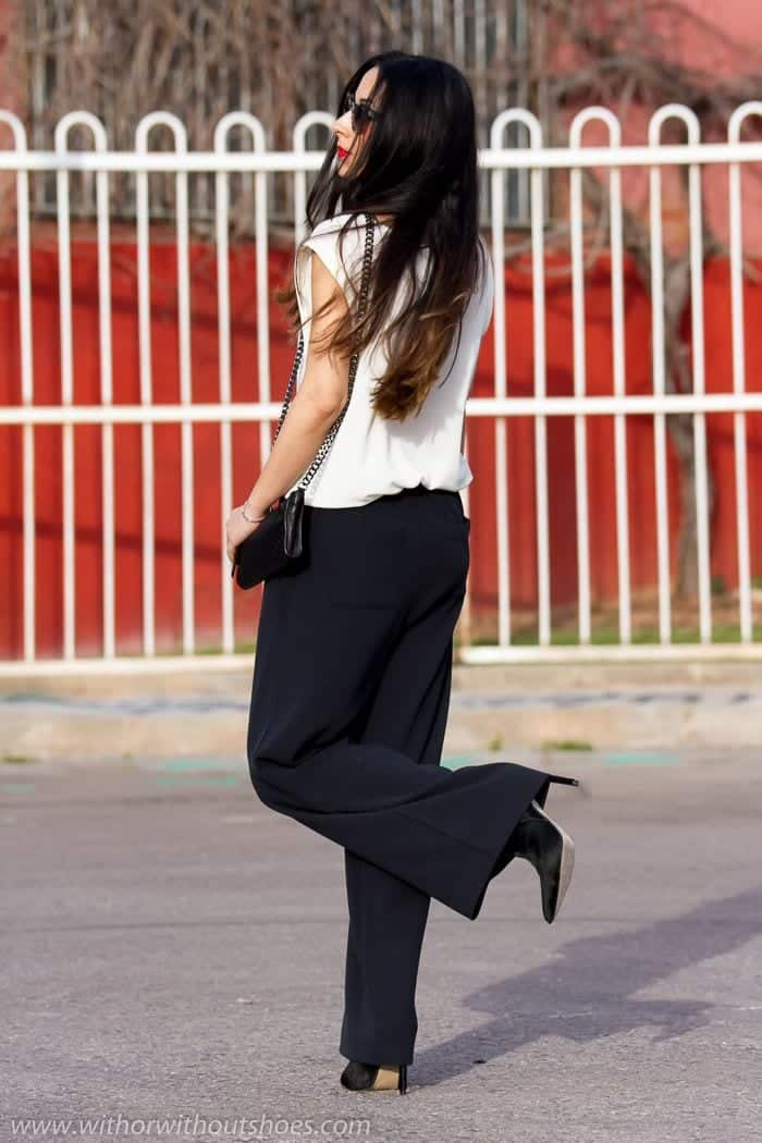 How to wear: Palazzo & Wide-legged pants. Collection by STEELE MyStyle. Follow. pants, bag, shoes. Wide-leg trouser in yellow contrasting black - street style stripes and red pants Look escritório. Go to office outfit wide leg trouser my-style Want these pants! See more.