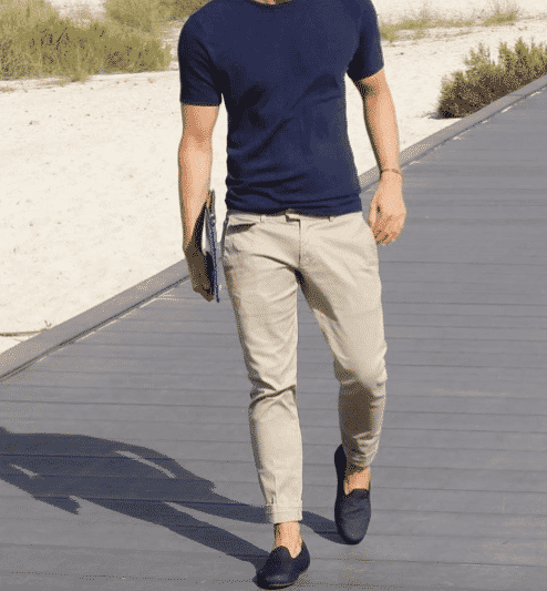 khaki-pants-without-socks Men Khaki Pants Outfits- 30 Ideal Ways to Style Khaki Pants