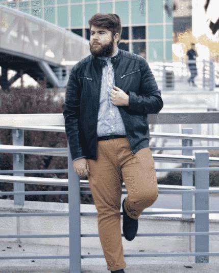 leather-jacket-with-khaki-pants Men Khaki Pants Outfits- 30 Ideal Ways to Style Khaki Pants