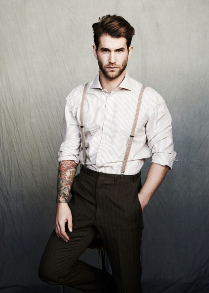 f815f6581360e3ea25efe0753d9fc8cc-732x1024 How to Wear Braces? 20 Best Men Outfits With Suspenders