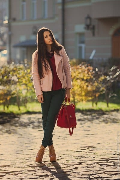 light-pink-biker-wool-stradivarius-coat-ruby-red-cable-knit-zara-sweater_400 Lita Boots Outfits - 17 Ways to Wear Lita Shoes Fashionably