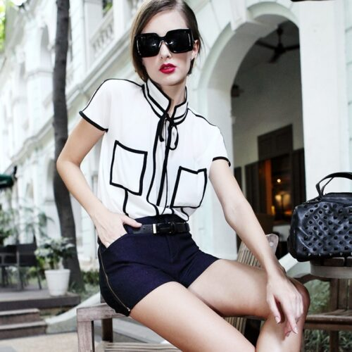 2014-European-Stars-Streetwear-Black-And-White-Contrast-Color-Chiffon-Shirt-Women-Fashion-Boyfriend-Style-Pllover