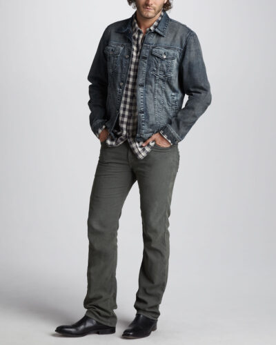 7-For-All-Mankind-Jean-Jacket-Double-Face-Check-Sport-Shirt-Standard-Corduroy-Pants-1-400x500 Men Corduroy Pants Outfits-15 Ways to Wear Corduroy Pants