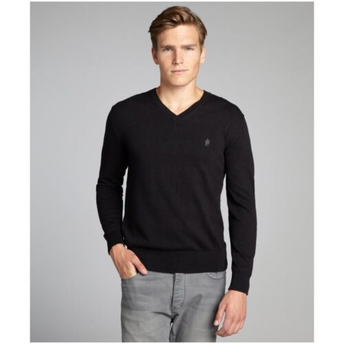 879-French-Connection-men-s-black-cotton-Auderley-v-neck-sweater-1-500x500 Short Height Guys Fashion-20 Outfits for Short Men to Look Tall