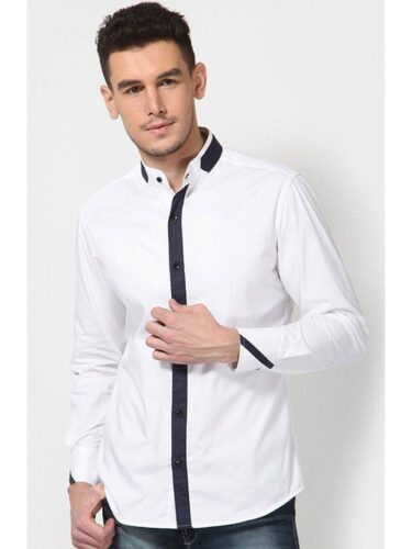 Dazzio-White-Full-Sleeves-Pure-Cotton-Men-Casual-Shirts-473529-1-375x500 Short Height Guys Fashion-20 Outfits for Short Men to Look Tall
