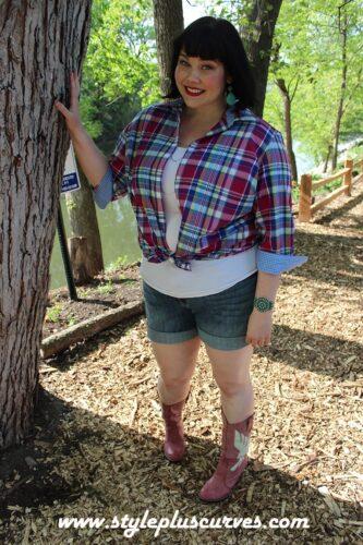 Kohls-Americana-Plaid-Denim5-333x500 Boyfriend Shorts Outfits-16 Ways to Wear Boyfriend Shorts