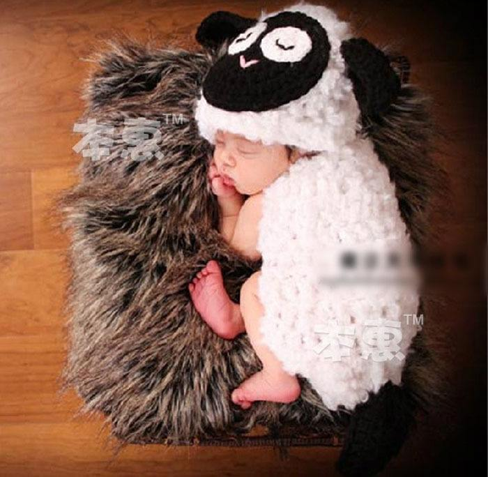 Lovely-Lamb-Baby-Crochet-Photo-Props-Infant-Hand-Crochet-Hat-Cover-Set-Baby-Crochet-Costume-Outfit Crochet Outfits for Babies-20 Newborn Crochet Outfits Patterns