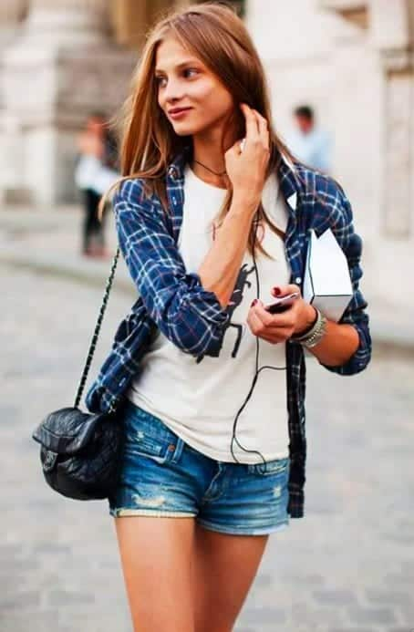 cardigan 18 Best Check Shirt Outfit Combinations for Girls in All Seasons