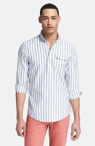 carmoisine-red-gant-by-michael-bastian-stripe-oxford-pullover-shirt-screen-326x500 Short Height Guys Fashion-20 Outfits for Short Men to Look Tall
