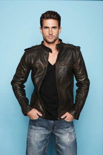 dark-brown-leather-bomber-jacket-black-v-neck-t-shirt-blue-jeans-original-9983-334x500 Short Height Guys Fashion-20 Outfits for Short Men to Look Tall