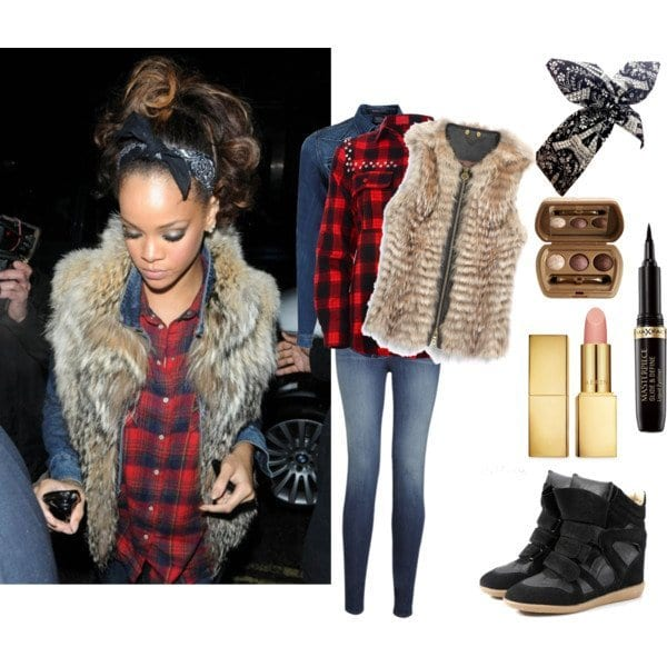 fur-vest 18 Best Check Shirt Outfit Combinations for Girls in All Seasons
