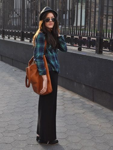 maxi-skirt 18 Best Check Shirt Outfit Combinations for Girls in All Seasons