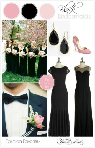 pink-and-black-bridesmaids-dresses-322x500 Women All Black Outfits - 20 Chic Ways to Wear All Black