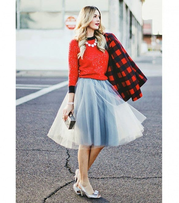 red-glittery Lulu Skirt Outfits-22 Ways How to Wear Lulu Skirts Fashionably