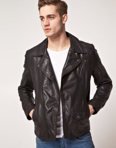 selected-john-leather-jacket-392x500 Short Height Guys Fashion-20 Outfits for Short Men to Look Tall