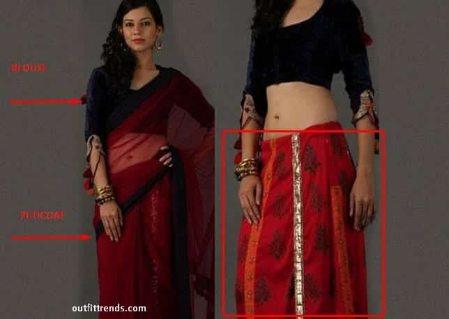 Blouse-and-Peticoat-Difference How to Wear Saree Tutorial-Step By Step Guide to Drape Saree