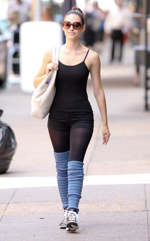 Emmy-Rossum-workout Leg Warmer Outfits - 22 Ideas On How to Wear Leg Warmers