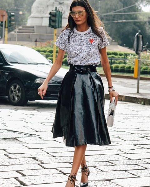 LS11 Leather Skirt Outfit Ideas - 20 Ways to Wear Leather Skirts