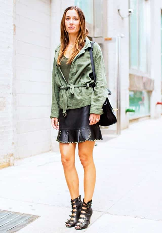 LS181 Leather Skirt Outfit Ideas - 20 Ways to Wear Leather Skirts