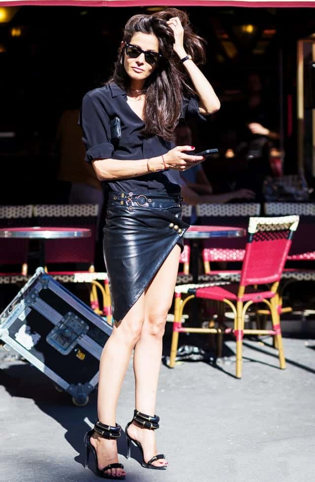 LS21 Leather Skirt Outfit Ideas - 20 Ways to Wear Leather Skirts