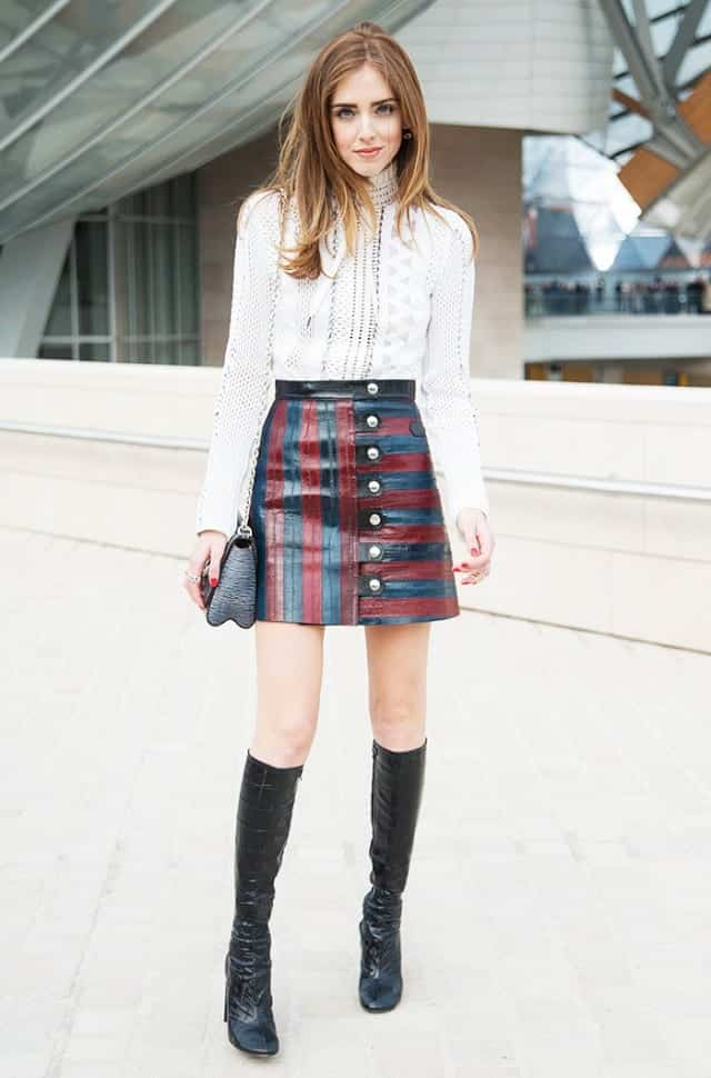 LS211 Leather Skirt Outfit Ideas - 20 Ways to Wear Leather Skirts