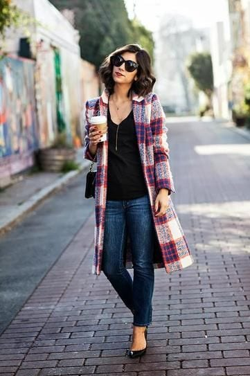 cute-outfits-with-plaid-coats-13 How To Wear Plaid Coats ? 18 cute Outfits with Plaid Coats