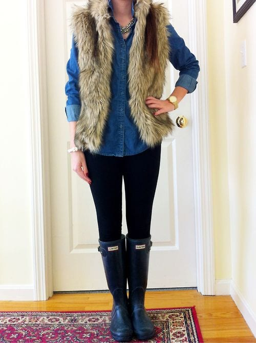 how-to-style-hunter-boots-13 Outfits with Hunter Boots-20 Ways to Wear Hunter Boots