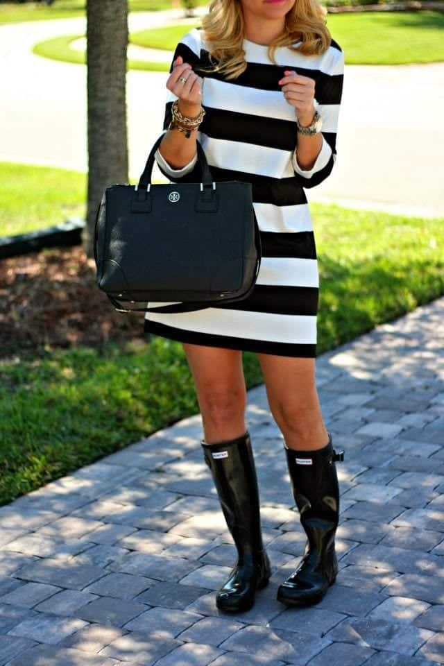 Outfits with Bunter Boots-20 Ways to Wear Hunter Boots