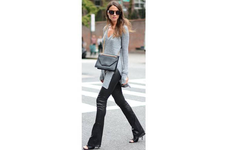 leather-bell-bottoms-for-womens Outfits with Bell Bottom Pants-23 Ways to Wear Bell Bottom