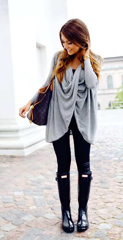 outfit-with-hunter-boots Outfits with Hunter Boots-20 Ways to Wear Hunter Boots