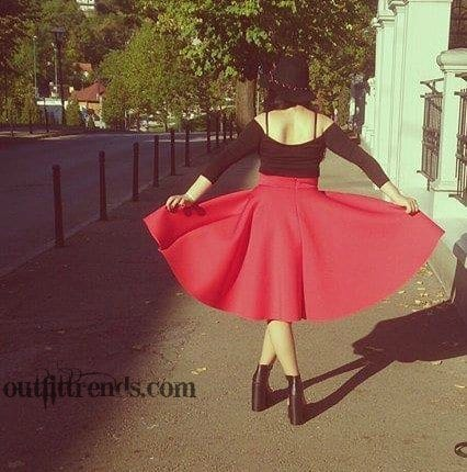 12540098_912670655485232_1955627515_n How to Wear Red Skirts ? Best Outfit Ideas with red Skirt