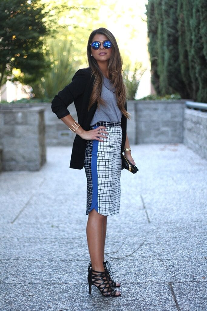 Check-Print-Skirt-1-The-Girl-From-Panama-683x1024 Outfits with Pencil Skirt-40 Best Ways to Wear Pencil Skirts