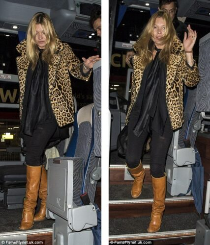 Kate-Moss-steps-out-in-leopard-print-coat-after-party-night-01-427x500 Outfits with Leopard coats-20 Ideas to Style Leopard Print Coats