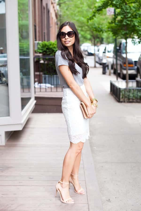 Lace-skirt2 Outfits with Pencil Skirt-40 Best Ways to Wear Pencil Skirts